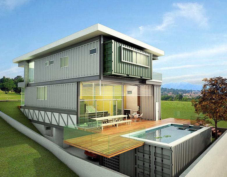 projeto-casa-residencial-com-container-piscina-container-motnagem-ilustração